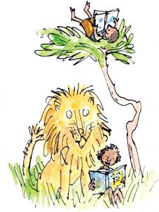 Lion and children reading